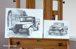 Ink Drawings; two old Alaska Trucks