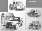 Four Ink Drawings of Old Vehicles