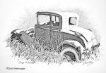 Ink Drawing of an old Coupe at Chitina, Alaska
