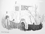 Ink Drawing; Truck near Strelna, Alaska