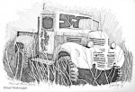 Finished Ink Drawing; Truck near Strelna, Alaska