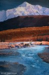 "Painting ""Caribou Crossing"" in Wilderness Alaska SOLD"