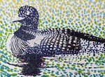 Beginning a Pointillism Painting Study of a Loon