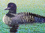 Layering Dots on the Common Loon Painting