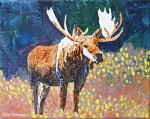 Step two Painting a Bull Moose in Pointillism