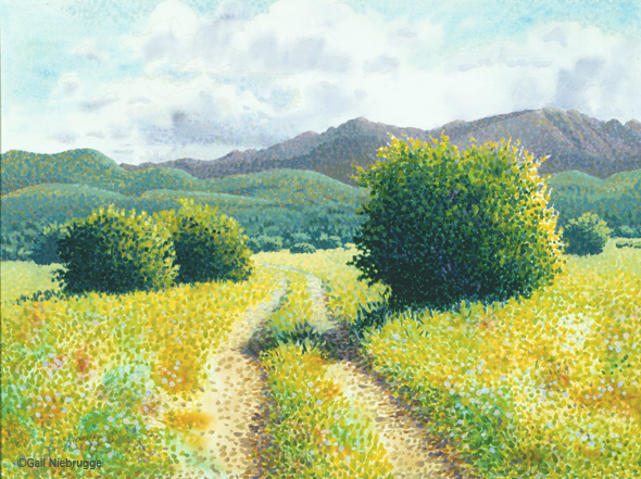 Buy Original Pointillism Painting Country Road