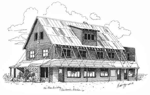 """Buy Original Drawing """"Rose Building"""" Fairbanks, Alaska"""